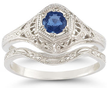 vintage-antique-style-sapphire-wedding-ring-set