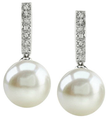 10 mm white pearl and diamond earrings