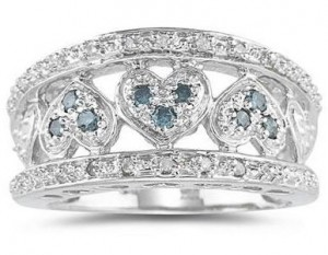Heart Ring - diamond blue and white band