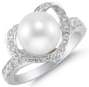 Heart ring - south sea pearl