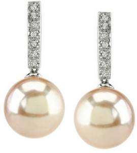 Pink pearl and diamond earrings