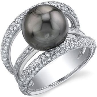 Tahitian pearl ring - eternity diamond