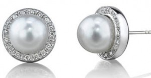 White south sea pearl and diamond stud earrings