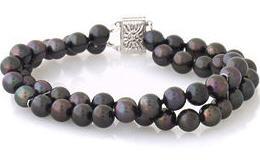 Black pearl double strand bracelet