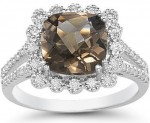 Cushion Cut Smoky Topaz and Diamond Ring