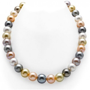 Freshwater and south sea pearl multicolor necklace