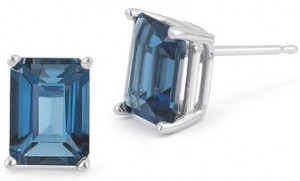 Blue topaz plain emerald cut earrings