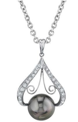 Tahitian black pearl pendants applesofgold tahitian black pearl kiss pendant aloadofball Gallery