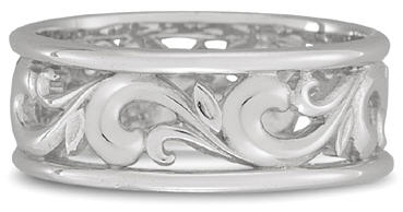 Paisley Carved Wedding Band