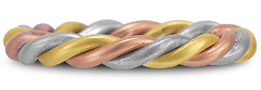 Tricolor gold woven wedding band