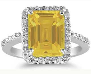 Citrine and Diamond ring november birthstone