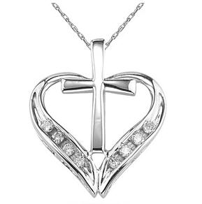 Diamond heart and cross