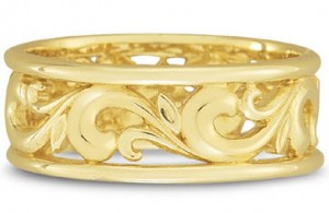 Gold paisley wedding band