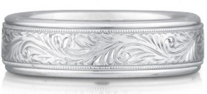 White Gold engraved paisley band