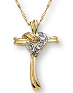 Yellow gold diamond heart cross