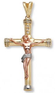 14K tri color gold crucifix pendant
