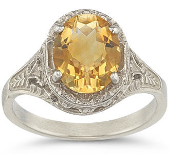 Citrine Victorian White Gold Ring