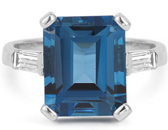 Emerald Cut blue topaz cocktail ring