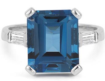 Emerald Cut blue topaz cocktail ring
