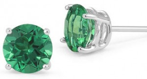 Emerald gemstone stud earrings