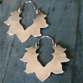 Kira Ferrer - silver jewelry lotus earrings