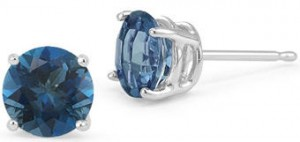 London blue topaz gemstone stud earrings