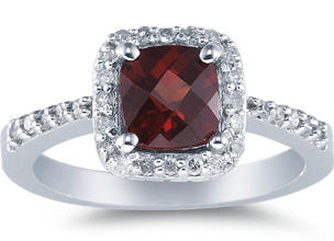 Garnet white gold and diamond ring large