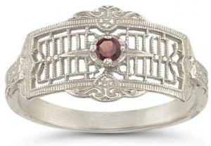 garnet white gold victorian vintage style ring
