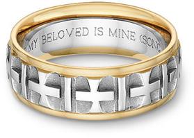 Christian Cross Wedding Band Ring