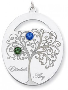 Sterling Silver Oval Family Tree Pendant 2 Stones