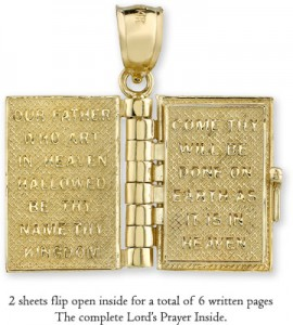 14k gold bible pendant with lords prayer inside applesofgold the lords prayer from the king james version engraved on the 6 golden pages inside the bible pendant can also be purchased with a 14k gold box chain mozeypictures Image collections