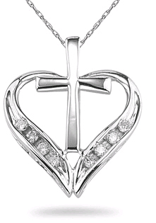 Diamond Cross Heart Pendant