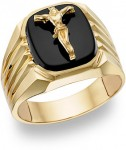 Gold And Black Onyx Cross And Crucifix Rings