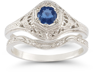 antique style sapphire wedding ring bridal set