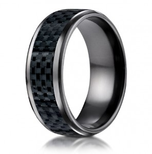 Benchmark carbon fiber wedding band ring