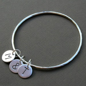 personalized letter charm bangle bracelet sterling silver