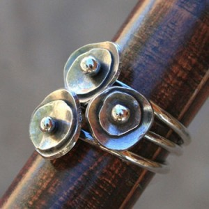 sea anemone stacking rings sterling silver