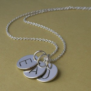 trio letter charm necklace sterling silver