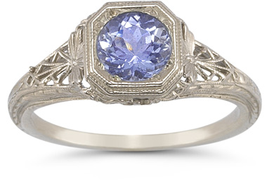 vintage filigree tanzanite ring white gold