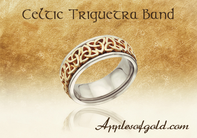 Celtic Trinity Knot Wedding Band, Two-tone Gold