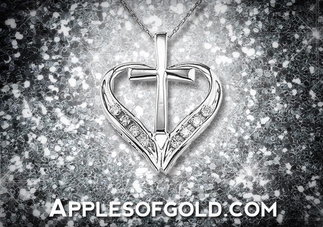 heart cross diamond pendant in 14K white gold