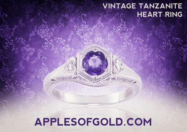 vintage tanzanite heart ring